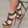 Black Rivets T Strap Sandals Open Toe Sexy Platform Sandals by FSJ thumb 1