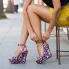 Floral Heels Ankle Strap Wedge Sandals with Platform thumb 1