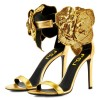 Gold Flower Embellished Evening Shoes Ankle Strap Sandals thumb 1