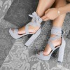 Grey Platform Chunky Heel Ankle Strap Strappy Sandals thumb 1