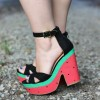 Summer Watermelon Peep Toe Platform Chunky Heels Ankle Strap Sandals  thumb 1