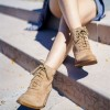 Khaki Vintage Boots Lace up Chunky Heel Ankle Booties for Women thumb 1