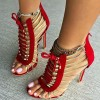 Red and Gold Gladiator Sandals Open Toe Lace up Heels  thumb 1