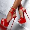 Red Stripper Heels Patent Leather Platform Stiletto Heel Sexy Shoes thumb 1