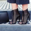 Black Laser cut Lace up Heels Peep Toe Hollow out Summer Boots thumb 1