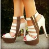 White and Brown Platform Heels Open Toe Chunky Heel Sandals Full Size thumb 1