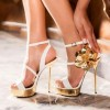 White and Gold Evening Shoes Stiletto Heel Platform Flower Prom Shoes thumb 1