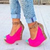 Magenta Leopard Print Wedge Heels Suede Ankle Strap Pumps thumb 1