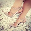 Nude Studs Shoes Slingback T Strap Stiletto Heel Pumps thumb 1