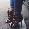 Black Lace up Sandals Strappy High Heel Shoes US Size 3-15 thumb 1