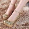 Gold Sparkly Heels Ankle Strap Glitter Platform Pumps for Party thumb 1