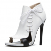 White 5 Inch Heels Side Lace-up Open Toe Stiletto Heel Summer Boots  thumb 1