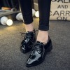 Black Women's Oxfords Patent Leather Lace up Heels Vintage Shoes thumb 1