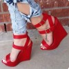 Red Wedge Sandals Open Toe Platform Heels with Buckles by FSJ thumb 1