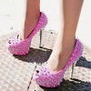 Women's Fuchsia Rhinestone Rivets Stripper Heels Pumps thumb 1
