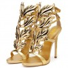 Gold Evening Shoes Luxury Metallic Heels Stiletto Sandals for Party thumb 1