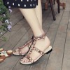 Leopard Print Flats Open Toe T Strap Sandals with Rhinestones thumb 1