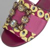 Fuchsia Floral Canvas Rhinestone Flat Slide Sandals thumb 4