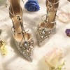 Gold Glitter Shoes Stiletto Heel Pumps with Rhinestone thumb 5