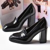 Black Block Heel Square Toe Heeled Loafers for Women thumb 4