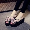 Black Platform Women's Slide Sandals Open Toe Pink Bow Slides Shoes thumb 3