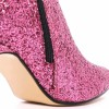 Pink Glitter Boots Pointy Toe Side Zipper Stiletto Heel Ankle Booties thumb 4