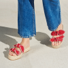 Red Bows Espadrille Sandals Comfortable Women's Slide Sandals thumb 2