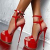 Red Stripper Heels Patent Leather Platform Stiletto Heel Sexy Shoes thumb 2
