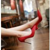 Women's Coral Red Suede Stiletto Heel Pumps Bridal Heels thumb 2