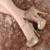 Gold Sparkly Heels Ankle Strap Glitter Platform Pumps for Party thumb 3