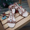 Leopard Print Flats Open Toe T Strap Sandals with Rhinestones thumb 5