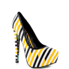 Yellow And Black Floral Print Platform Heels Almond Toe Stiletto Heels thumb 3