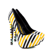 Yellow And Black Floral Print Platform Heels Almond Toe Stiletto Heels thumb 5
