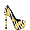 Yellow And Black Floral Print Platform Heels Almond Toe Stiletto Heels thumb 4