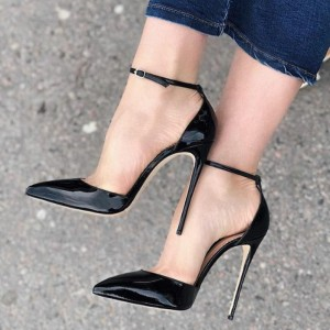 Women Pointy Toe Buckle Strap Patent Leather Stiletto Heel Lady Shoes UK1-9 Size