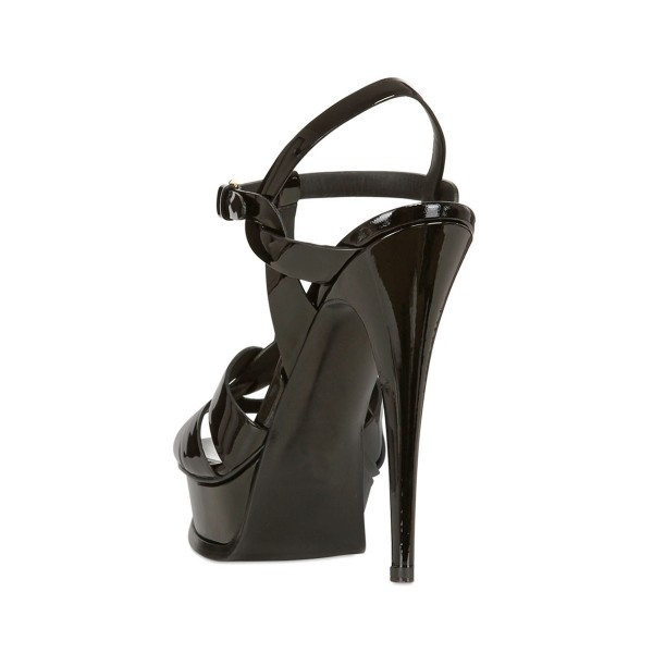 Black T-strap Sandals Open Toe Pencil Heels Platform Sandals image 2