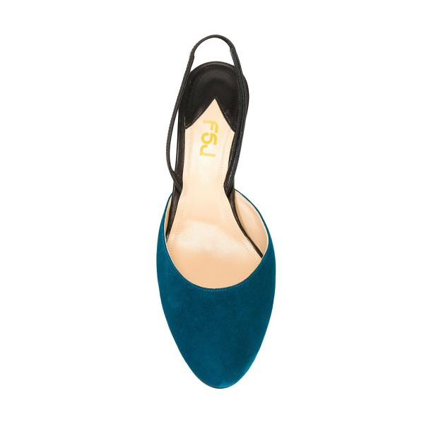 Teal Shoes Round Toe Slingback Pumps