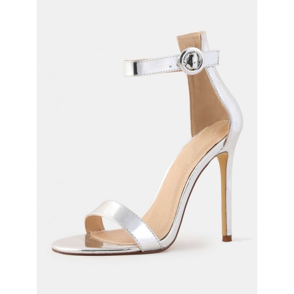 Women's 4 Inch Heels Silver Ankle Strap Sandals Fashion Stiletto Heels image 1