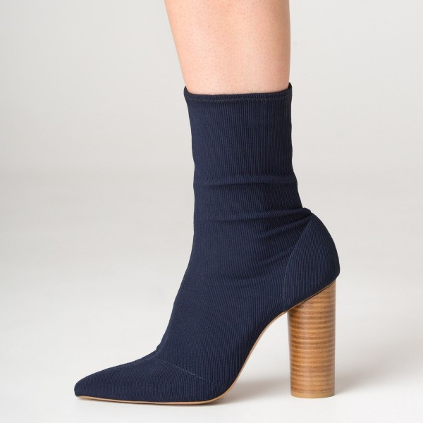 Elastic Navy Blue Boots Pointy Toe Sock Boots Cylindrical Heeled Boots image 2