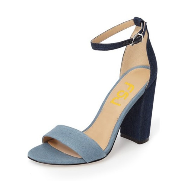 Blue and Navy Jean Heels Ankle Strap Denim Chunky Heel Sandals by FSJ image 1