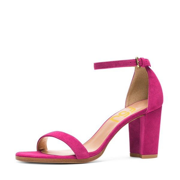 Fuchsia Chunky Heel Sandals Ankle Strap Heels For Date