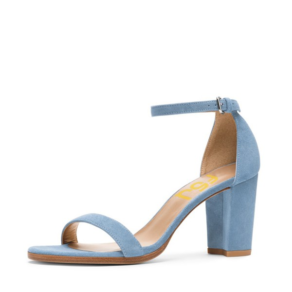 Light Blue Suede Ankle Strap Sandals Open Toe Chunky Heel Sandals image 1