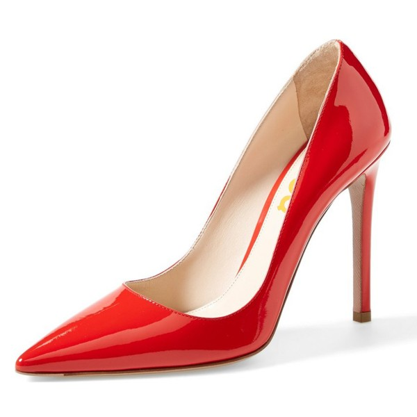 On Sale Red Patent Leather Office Heels Pointy Toe Stiletto Heel Pumps image 1