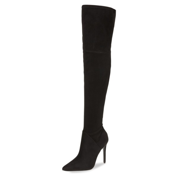 Black Thigh High Heel Boots Pointy Toe Suede Stiletto Heel Boots image 1