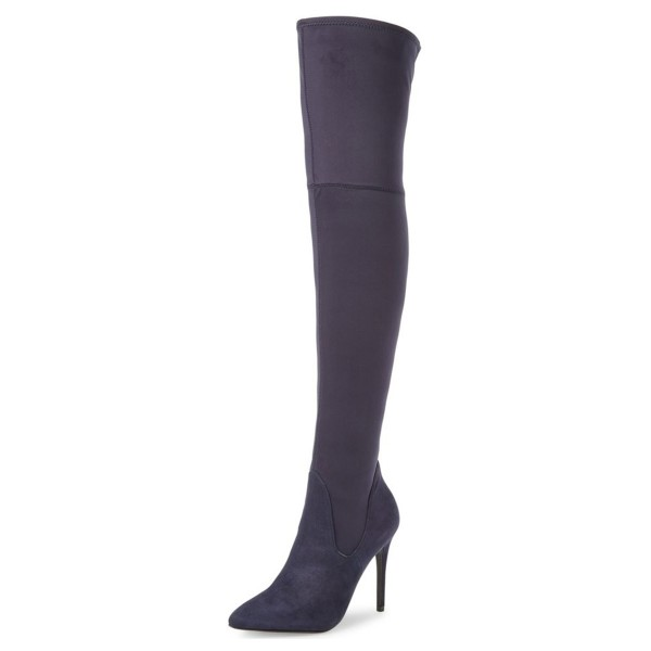 Dark Purple Long Boots Pointy Toe Stiletto Heel Thigh-high Boots image 1
