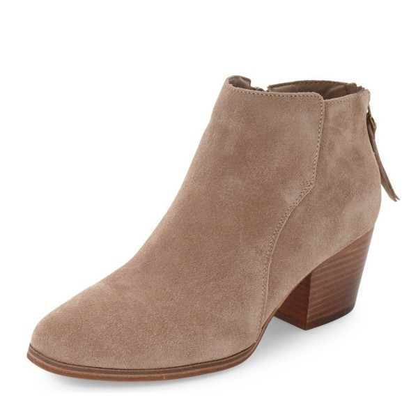 moderate cost durable in use best place Taupe Wooden Chunky Heel Boots Suede Round Toe Short Boots