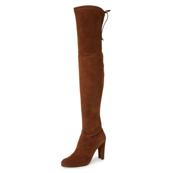 Brown Long Boots Chunky Heel Thigh-high Boots for Women image 1