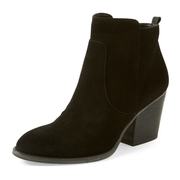 Lelial Black Suede Chunky Heel Boots Round Toe Comfortable Ankle Booties image 1