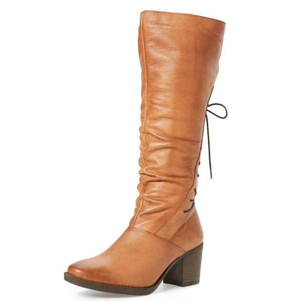 Tan Tall Boots Round Toe Back Lace up Block Heel Vintage Boots image 1