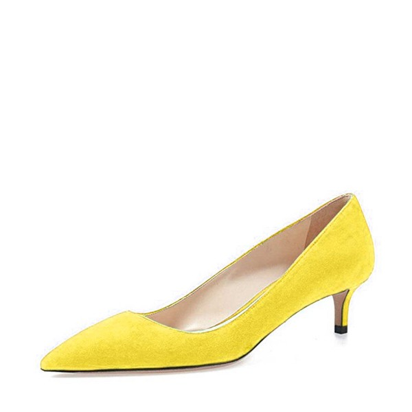 On Sale Yellow Kitten Heels Pointy Toe Suede Pumps Office Shoes image 1